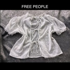 😍FREE PEOPLE Med White Embroidered Open Back Top